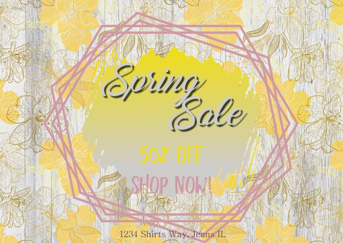 Spring Sale Yellow Postal template