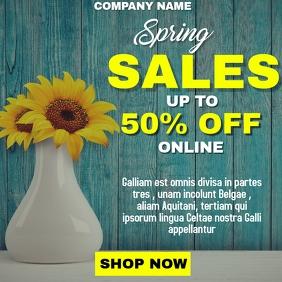 Spring sales flyer advertisement wooden backg