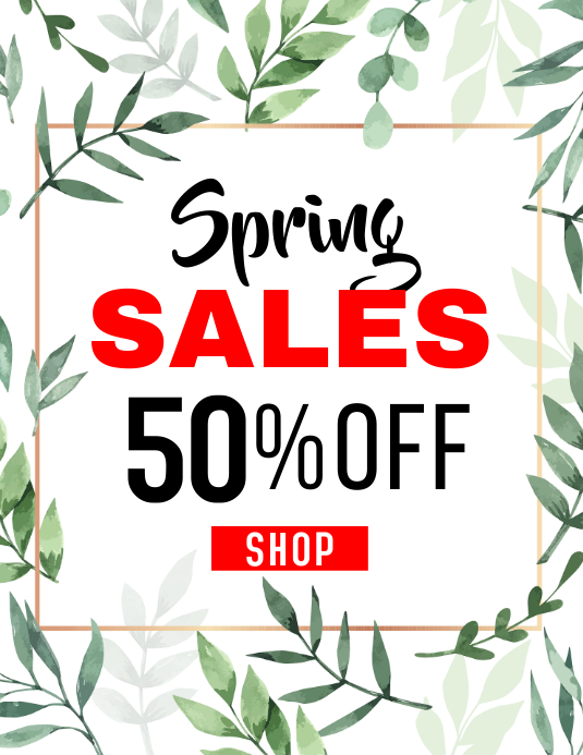 Spring sales up to 50% off
