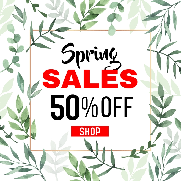 Spring sales up to 50% off. instagram post template