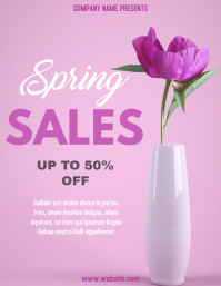 Spring season sales flyer with pink rose