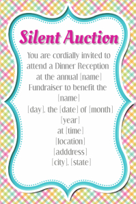 Spring Silent Auction Fundraiser Event Flyer Template plaid