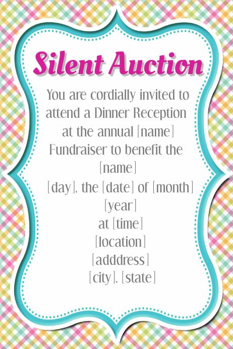 Spring Silent Auction Fundraiser Event Flyer Template Plaid