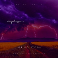 Spring Storm Dark Colors Mixtape CD Cover Album Omslag template
