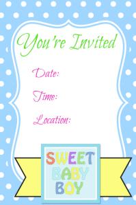 Spring Summer Baby Boy Invitation Announcement Flyer