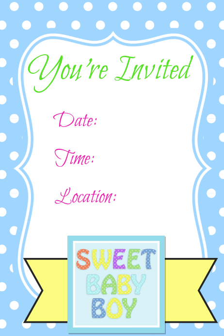 Spring Summer Baby Boy Invitation Announcement Flyer Template