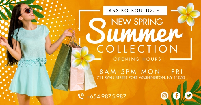 Spring Summer Clothes Shop Facebook Post Temp template