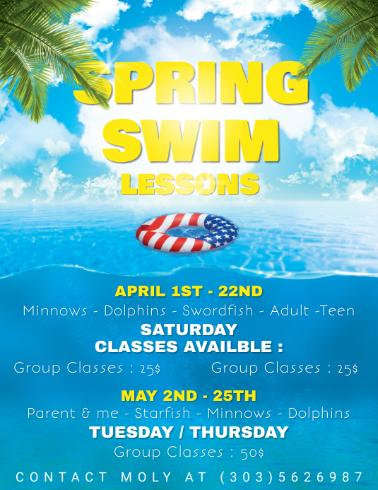 Spring Swin Lessons Flyer Template