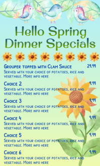 Spring Theme Dinner Specials Menu US Legal template