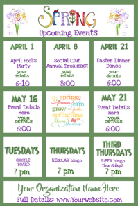 Spring Upcoming Events Calendar Newsletter