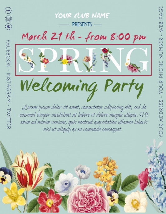 Spring Welcoming Party Poster Flyer Break