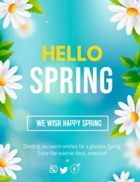 spring wishes,spring,hello spring Flyer (format US Letter) template