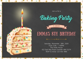 Sprinkle cake party invitation A6 template