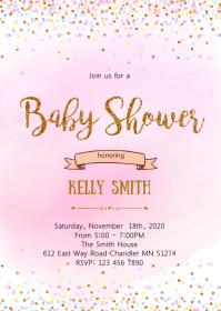 Sprinkle confetti baby shower invitation