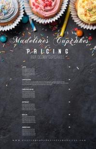 Sprinkle Cupcake Menu Bakery Sweet Menu ความกว้างแบบครึ่งหน้า template
