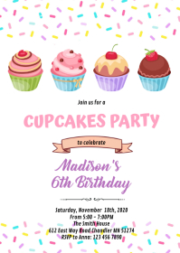 Sprinkle cupcakes party invitation A6 template