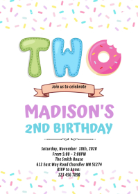 Sprinkle two sweet donut party invitation A6 template