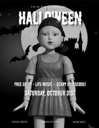 Squid Game Halloween Party Flyer Template Løbeseddel (US Letter)