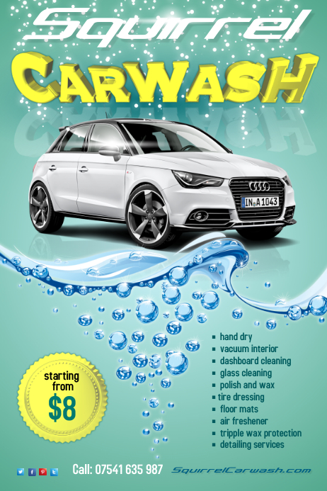 Squirrel Carwash Flyer Template Postermywall