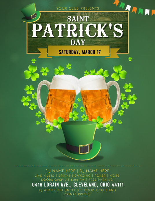 St. Patrick's Day Bar Party Flyer