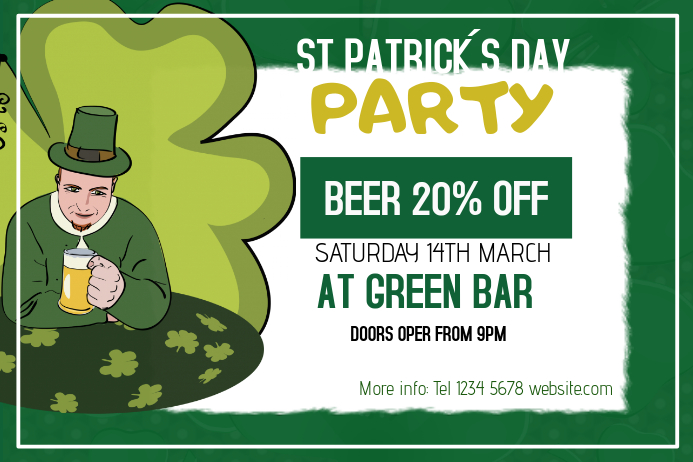 st. Patrick´s day Party event landscape poster template