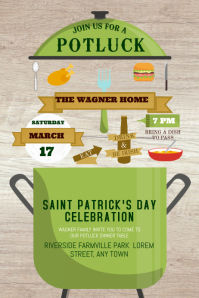 St. Patrick's Day Potluck Poster Template