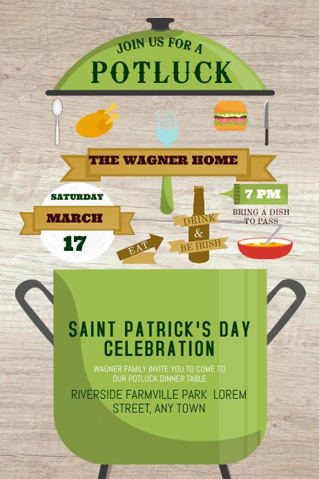 St. Patrick's Day Potluck Poster Template Cartaz