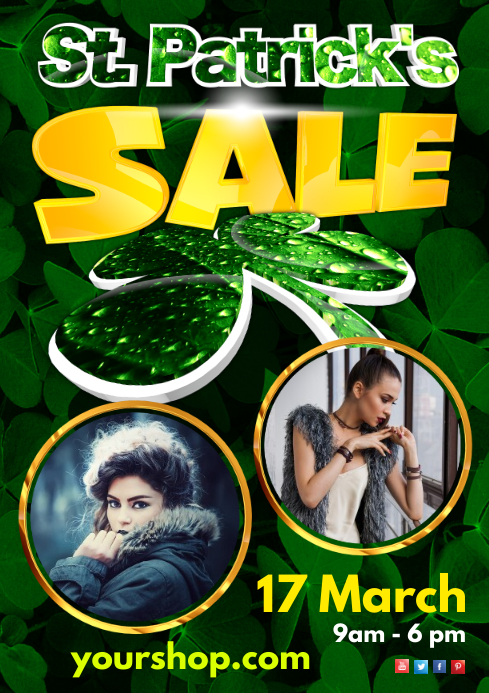 St. Patrick's Day Sale Flyer A4 template