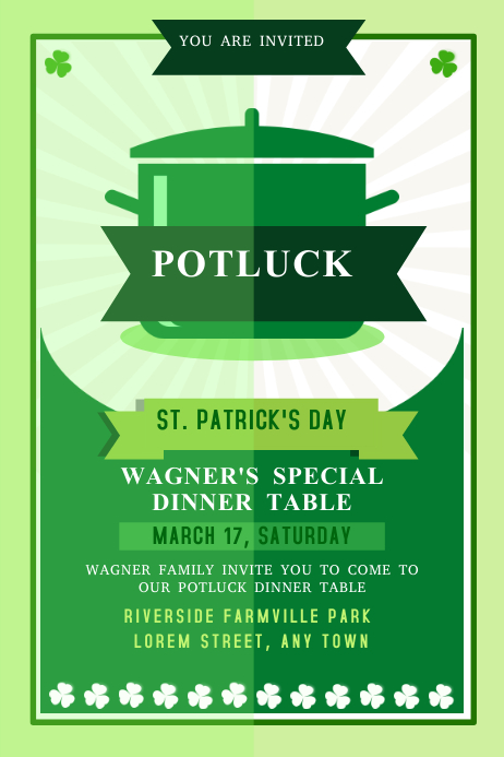 St. Patrick's Potluck Event Poster Template