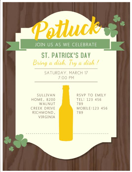 St. Patrick's Potluck Flyer Template