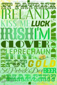 St. Patrick's Word Collage Gold Clover Green Holiday Irish