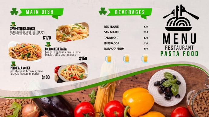 St Patrick's Day Food Menu Board