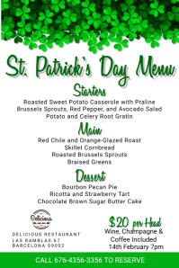 St Patrick's Day Menu Template