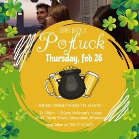 St Patrick's Day Potluck Party Invite Square
