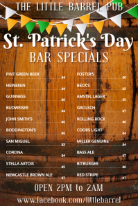 St Patrick's Day Specials Bar Menu Template