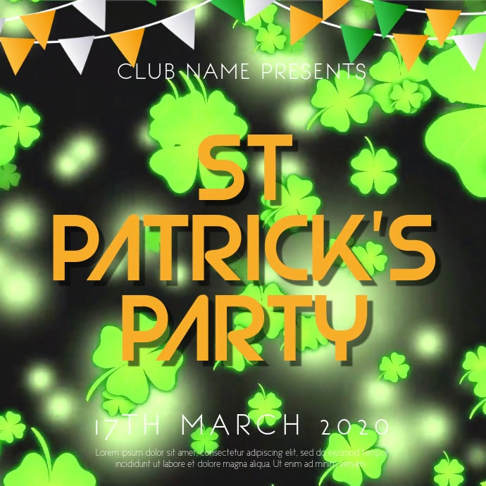 St Patrick's Event Party Video Template Persegi (1:1)