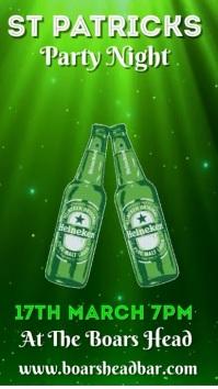 St Patrick's Party Social Media Post Template Display digitale (9:16)