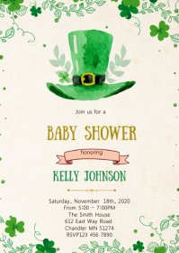 St Patrick baby shower invitation A6 template