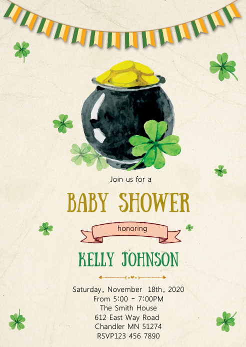 St Patrick baby shower party invitation