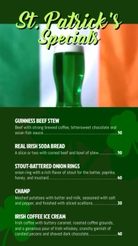 St Patrick Day menu