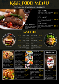 Restaurant menu A4 template