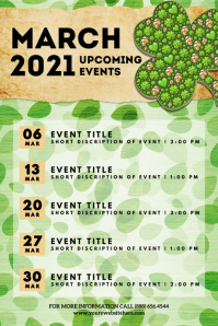 St Patrick March 2021 Upcoming Event Flyer Plakkaat template