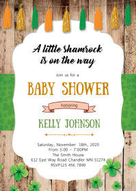St Patrick party invitation flyer A6 template