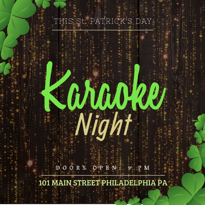 St Patrick's Karaoke Video template Instagram-bericht