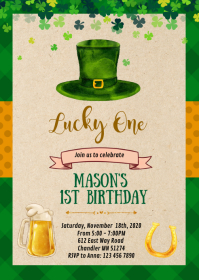 St Patrick Shamrock birthday invitation A6 template