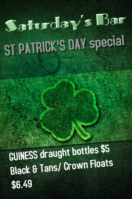 St Patrick's Day Bar Poster Template