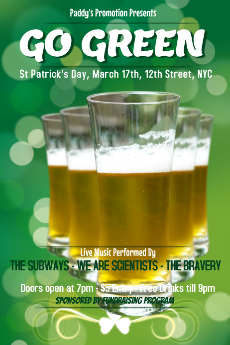 St Patricks Day Bar Flyer Template