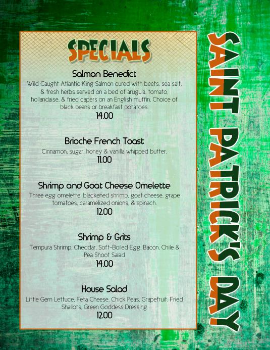 st patricks day Brunch dinner Specials Menu flyer Template