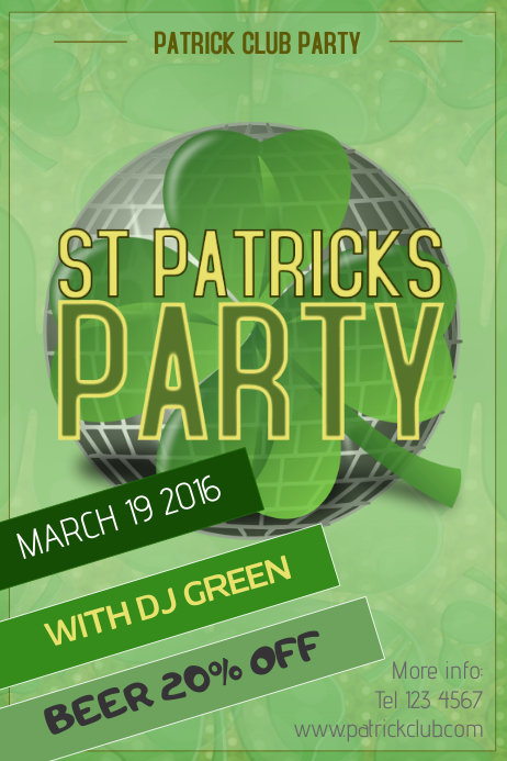 St patricks Day event party poster