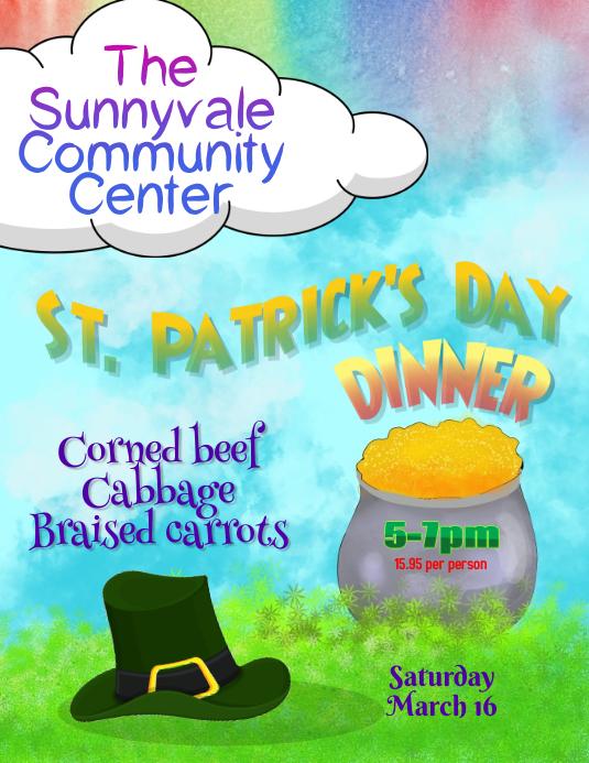 St Patricks Day Family Dinner Flyer Template